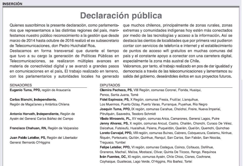Grupo transversal de parlamentarios publica inserto para reconocer ...