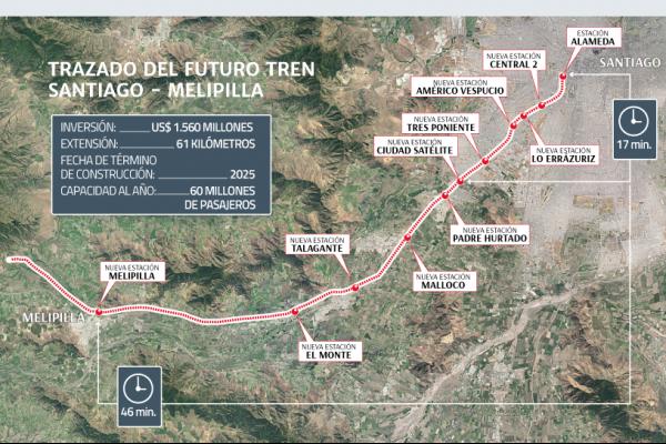 Tren Santiago-Melipilla parte su construcción en 2020