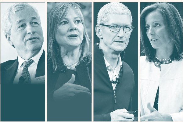 Jamie Dimon Director ejecutivo de JPMorgan y presidente de Business Roundtable; Mary Barra CEO de General Motors; Tim Cook Director ejecutivo de Apple; Adena Friedman Presidenta y directora general de Nasdaq.